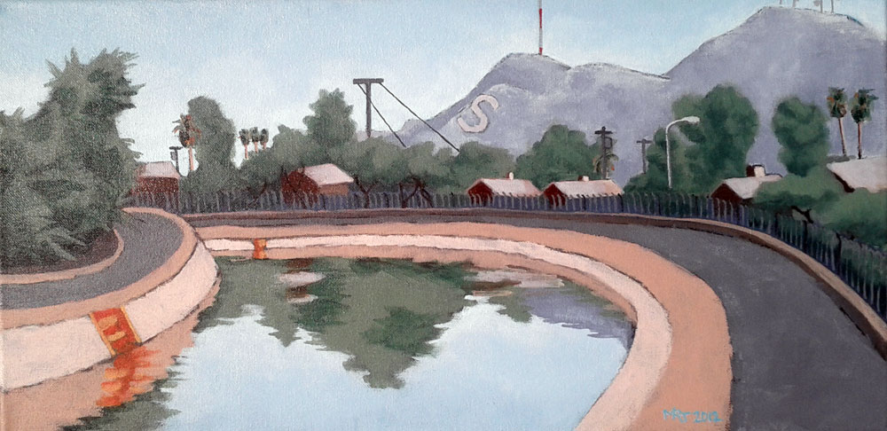 Acrylic studio painting, View of S Mountain from the Arizona Canal Trail.