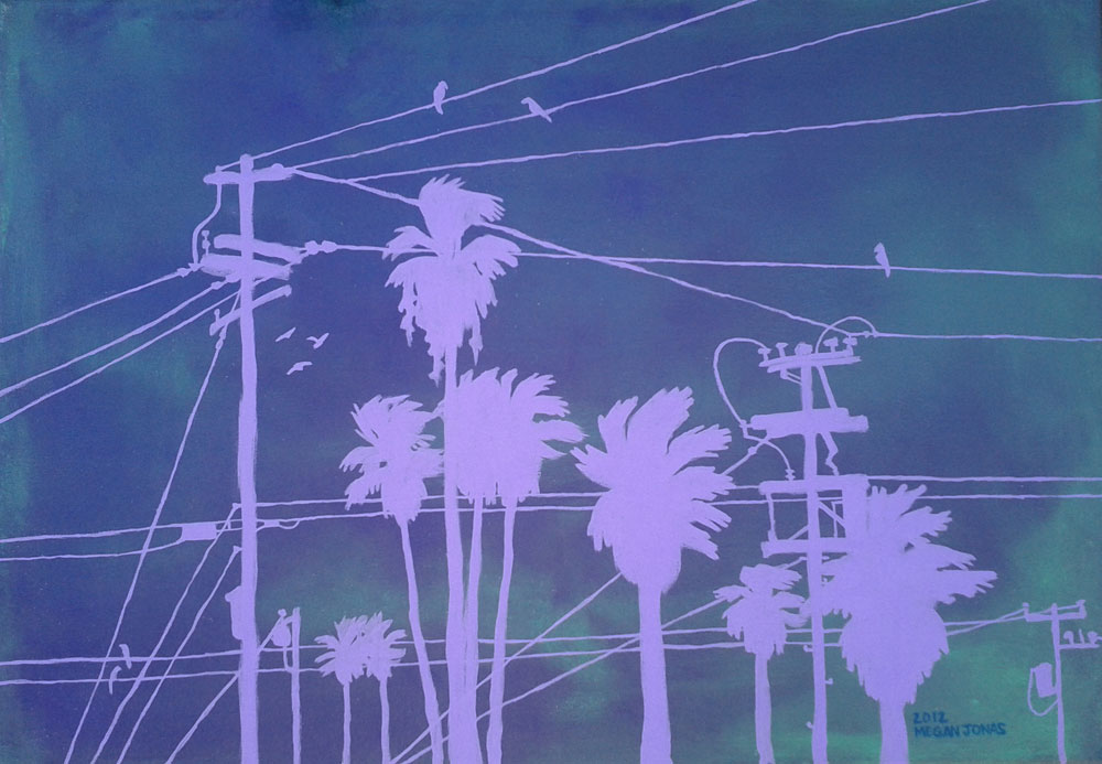 Acrylic studio painting of power lines and palm trees.