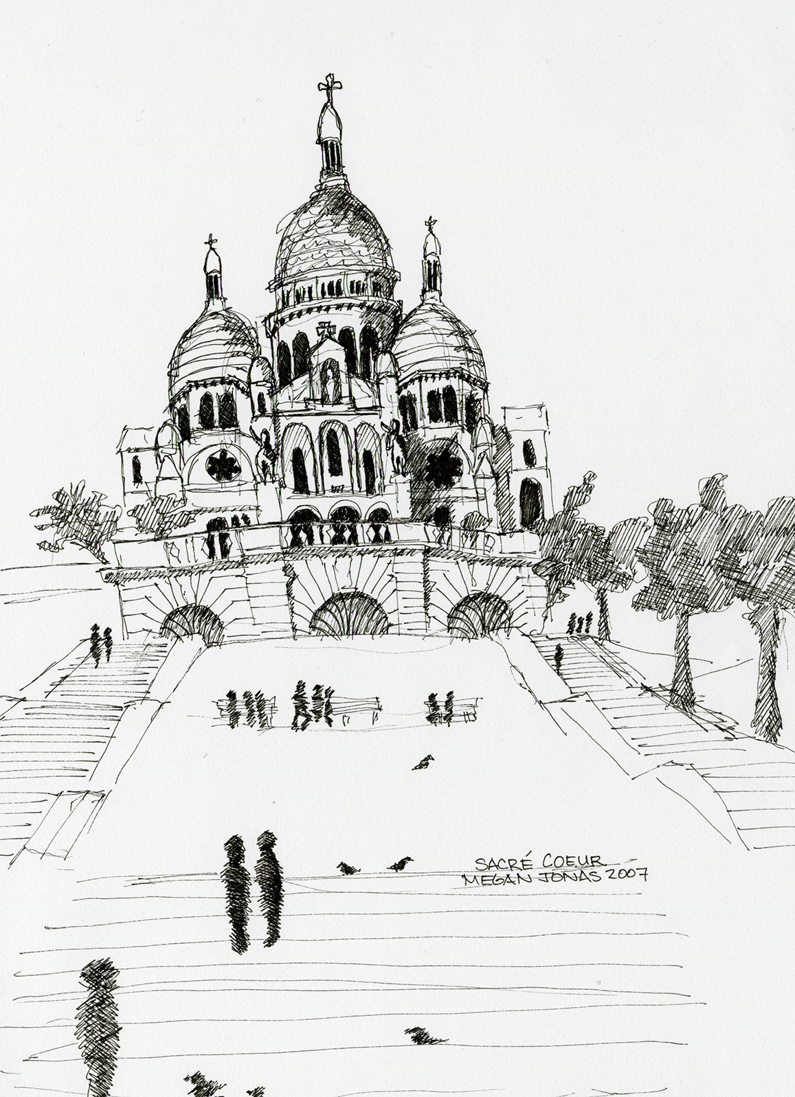 Ink drawing of the Sacré-Cœur Basilica in Paris.