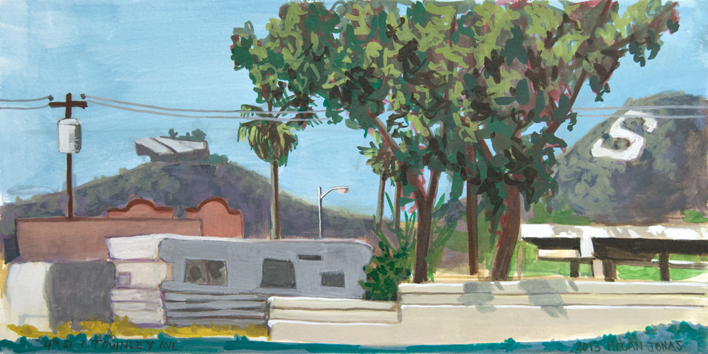A watercolor of S Mountain from 4th St. and E. Townley Ave.
