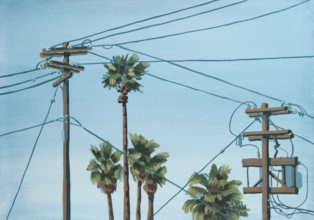 Second time painting this watercolor on location of power lines and palm trees.