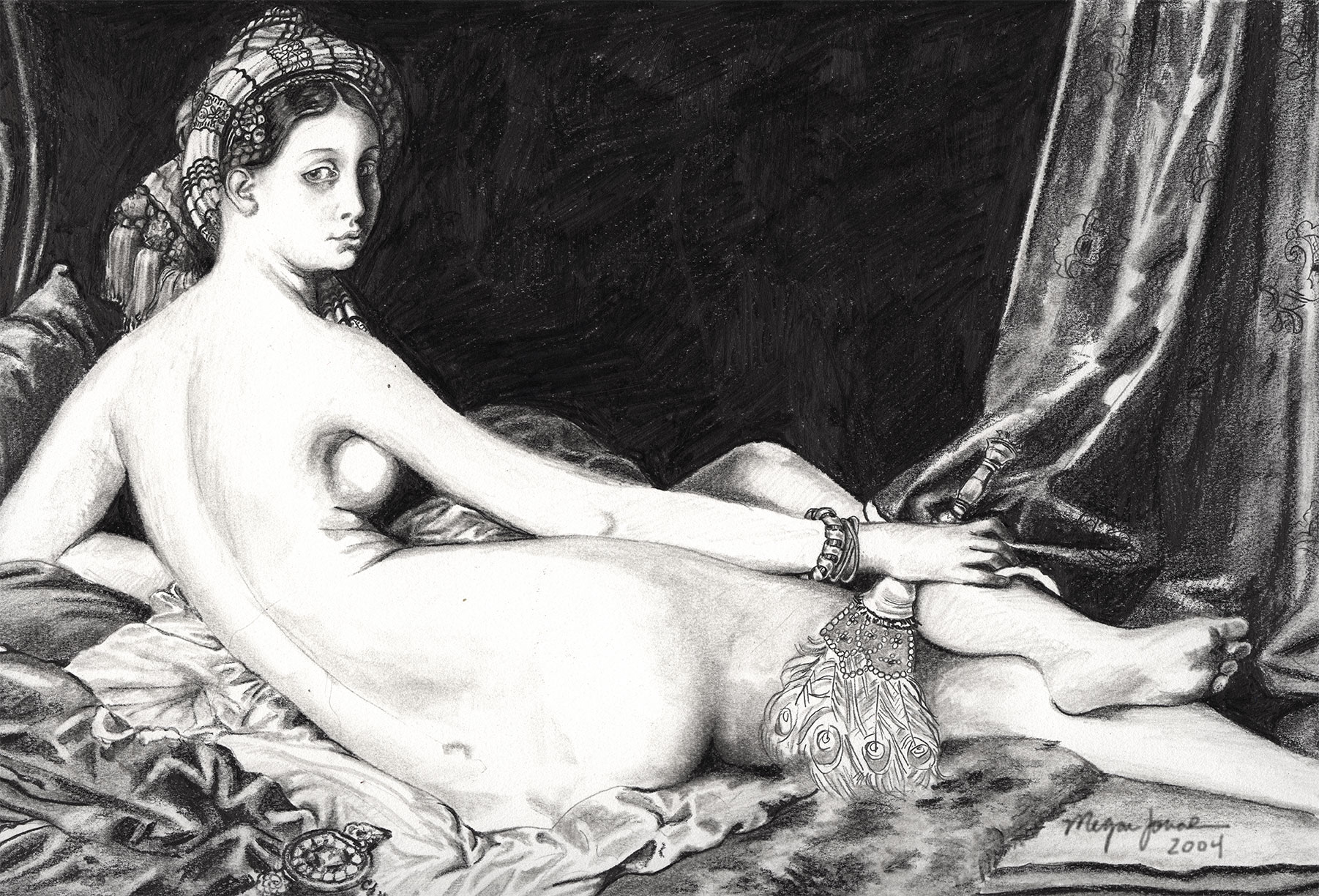 A pencil rendition of La Grande Odalisque by Jean Auguste Dominique Ingres.